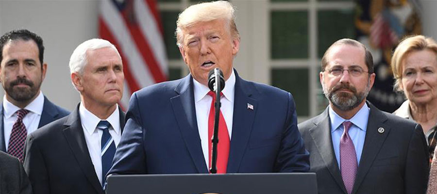 Donald trump addressing press confernce to discuss government plans to fightback coronavirus.